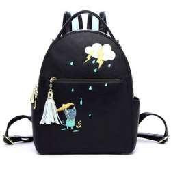 PU Leather Cartoon Print Tassel Backpack - рюкзачок со вкусом мурррр нежности...