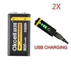 Литиевый аккумулятор OKcell 9V 800mAh с USB-входом для зарядки и с индикатором