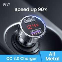 Автомобильная зарядка Fivi FV833 с вольтметром и двумя портами USB (1*QC3)