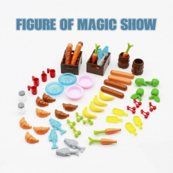 Обзор игровых аксессуаров от легосовместимого конструктора: яблоко, морковь, батон, чашка, вишня, тарелки, мороженное, рыба, банан, ящики и бочки.
