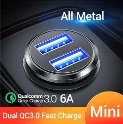 Малогабаритная двухпортовая автомобильная зарядка FIVI FV820 с протоколами быстрой зарядки и ценой 1,79 $