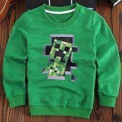 Маленьким любителям игры Minecraft посвящается или обзор детского свитшота с изображением крипера