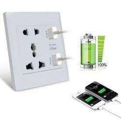 Сдвоенная универсальная розетка, для всех типов вилок и двумя USB