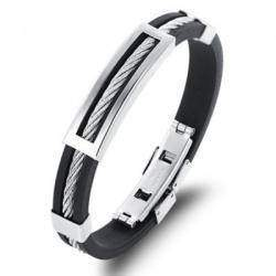 Мужской браслет - силикон и сталь