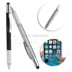 Шариковая ручка 6 в 1 (линейка, масштаб, две отвертки, уровень и стилус)