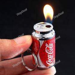 Mini Cola Can Refillable Gas Lighter Smoking Cigarette Keychain Gift Bear Can