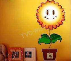 Светильник в виде подсолнечника, из категории 'наклей сам' (DIY), Sunflower DIY 3D Wall Sticker Lamp Line Switch Decoration Light
