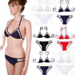 Черный женский купальник, Womens Brazilian Bikini Set Mesh Triangle Top Bottom Beachwear Swimsuit