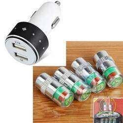 Полезные мелочи в авто, колпачки на нипеля индикатор давления и USB зарядное 3А в прикуриватель