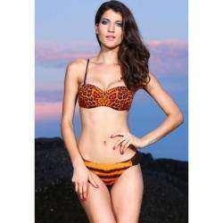 Женский купальник с интересной расцветкой, Orange Leopard Bikini Swimwear Swimsuit Bra + Underwear