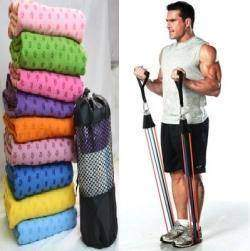 Матик для йоги и резиновый тренажер-жгут