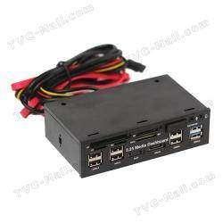 5.25 inch USB 3.0 PC Media Dashboard Front Panel Card Reader HUB SATA eSATA - универсальный кардридер