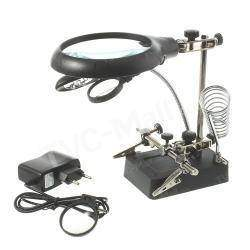 5 LED Auxiliary Clip Magnifier AC/DC Interchangeable Desktop Welding Modelling Tool Purchased («третья рука» с подсветкой)