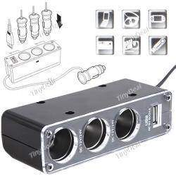 Black Three-Way Car Cigarette Lighter Socket Splitter with USB Port