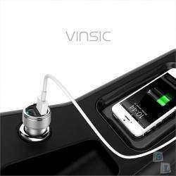 Стильное зарядное устройство для автомобиля Vinsic  в стальном корпусе и 5А на выходе
