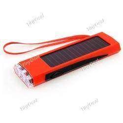 800mAh Li-Ion Solar Powered 3-LED 2-Way Rechargeable Flashlight