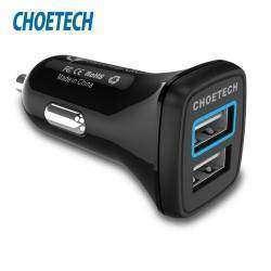 Зарядка от прикуривателя Choetech (2 юсб/QC 3.0 + 2.4A=30W)