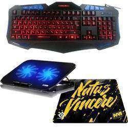 Клавиатура с подсветкой Fighting Nation, коврик для мыши Natus Vincere и подставка для ноутбука Ice Coorel
