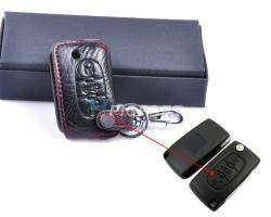 Обзор кожанного чехла на трехкнопочный ключ от автомобиля Peugeot