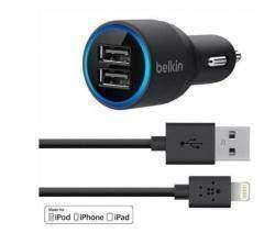 Качественное автомобильное зарядное устройство на 2 USB гнезда 2,1 А от Belkin для Iphone