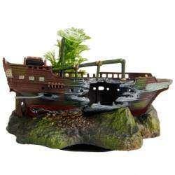 Декорация для аквариума - затонувший корабль с сокровищами